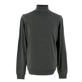 John Smedley Charcoal Merino Wool Turtleneck Jumper