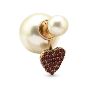 Dior Tribales Red Crystal Heart & Pearl Earrings