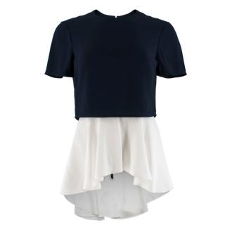 Alexander McQueen Navy & White Asymmetric Layered Top
