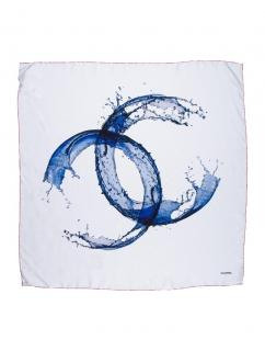 Chanel White CC Silk Scarf
