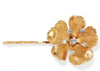 Jennifer Behr Haille Gold Tone Crystal Hair Clip