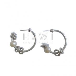 Bespoke Pearl & Silver Embellished Hoop Earrings