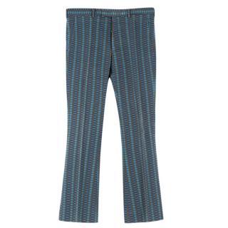 Prada Men's Blue & Olive Geometric Print Trousers