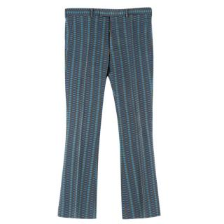 Prada Men's Blue & Olive Geometric Print Trousers