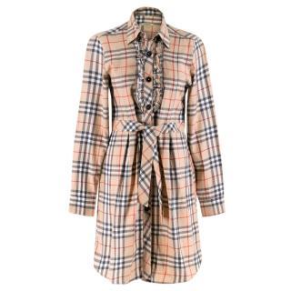Burberry Nova Check Ruffled Shirt Dress