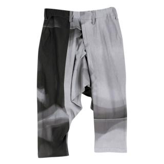Issey Miyake Black & White Tie Dye Drop Crop Trousers