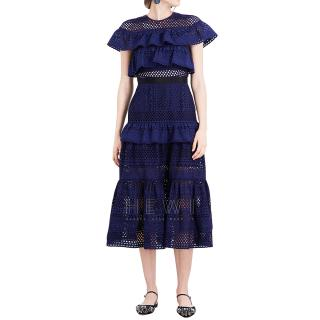 Self-Portrait Navy Floral Broderie Midi Dress