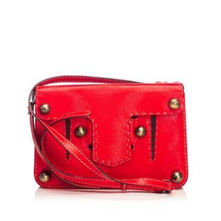 Fendi Red Studded Leather Crossbody Bag