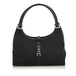 Gucci Black GG Canvas Jackie Handbag