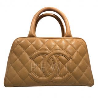 Chanel Camel Caviar Leather Petite Bowler Bag