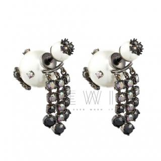 Dior Black Crystal Embellished Tribales Earrings