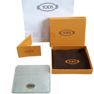 Tod's Silver Grained Leather Card Holder