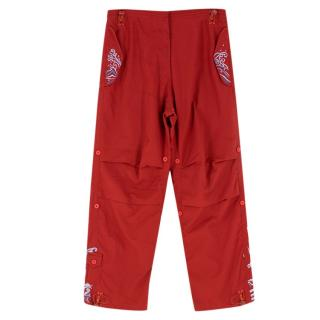 Maharishi Red Cargo Trousers With Embroidery