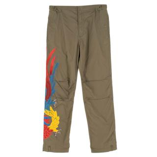 Maharishi Military Green Cargo Trousers With Embroidery