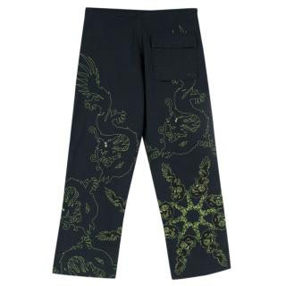 Maharishi Navy Cargo Trousers With Embroidery