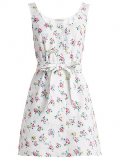 Emilia Wickstead White Linen Floral Short Dress