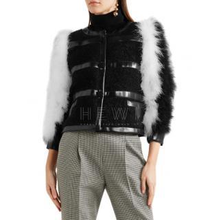 Philosophy Feather & faux leather trim mohair-blend boucl� jacket