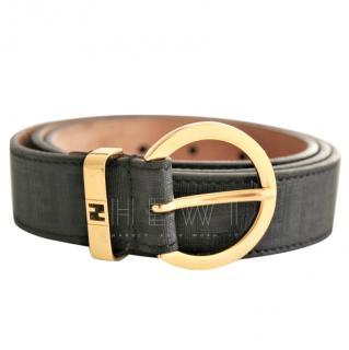 Fendi Black Monogram Slim Belt