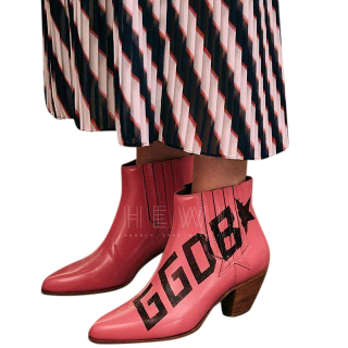 Golden Goose Deluxe Brand Pink Logo Ankle Boots - New Season