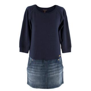 Louis Vuitton Navy Sweatshirt Denim Skirt Dress