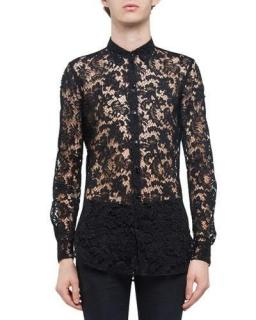 Saint Laurent Sheer Black Lace Shirt