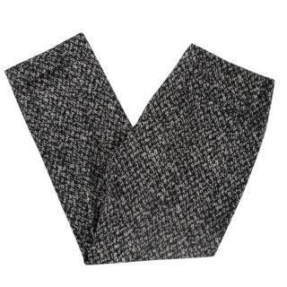 Prada Black & White Wool Tweed Trousers