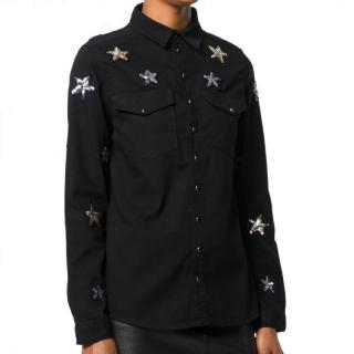 Zoe Karssen black denim star embellished shirt
