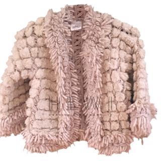 Chanel Alpaca & Mohair Wool Blend Pom Pom Cardigan