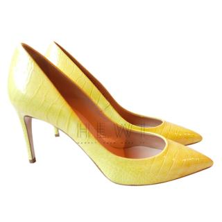 Casadei Mock Croc Yellow Pumps