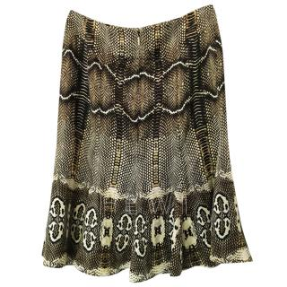 Roberto Cavalli Snake Print Silk Skirt