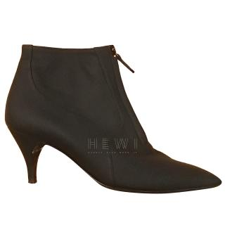 Hermes Satin Zip Front Ankle Boots