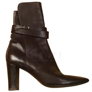 Hermes Black Wrap Ankle Boots