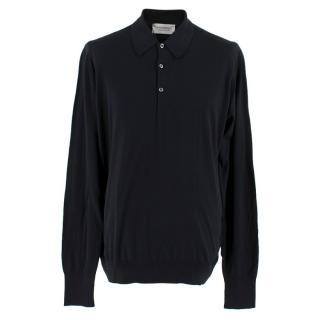John Smedley Black Men's Polo Cashmere Shirt