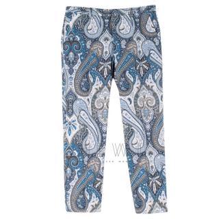Etro Blue Paisley Print Trousers