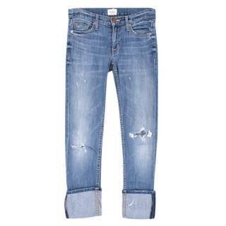 Hudson Light Wash Denim Cropped Trousers