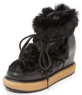 Paloma Barcelo Wedge Rabbit Fur Boots