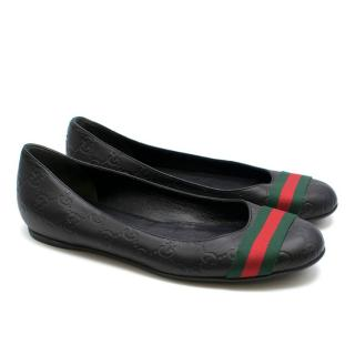 Gucci Black Leather Embossed Monogram Ballerina Flats
