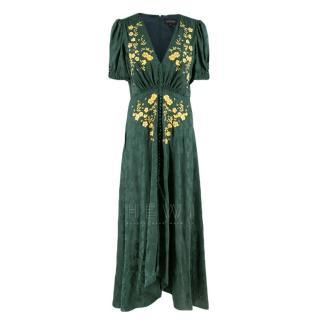 Saloni Dark Green Jacquard Floral Embroidered Dress