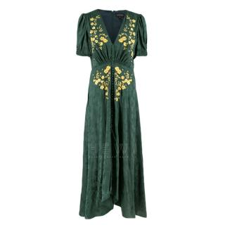 Saloni Dark Green Jacquard Floral Embroidered Dress