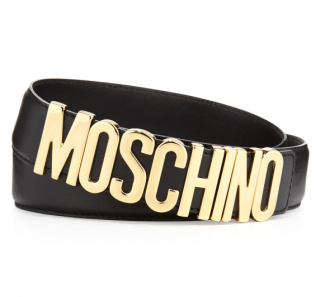 Moschino Couture Black Leather Logo Belt