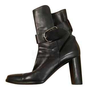 Hermes Black Ankle Wrap Boots