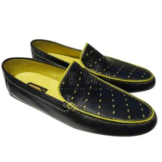 Zilli Dark Navy & Yellow Perforated Loafers