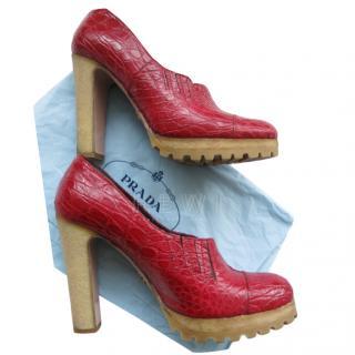 Prada Red Crocodile Leather Brogue Pumps