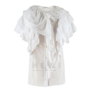 Givenchy White Short Sleeve Ruffled Blouse