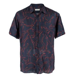 Dries Van Noten Short Sleeve Navy Printed Shirt