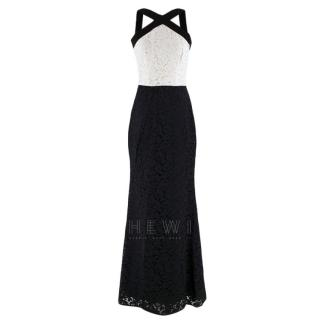 Carolina Herrera Black & White Lace Cross Neck Gown