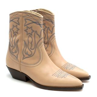 Sandro Nude Embroidered Cowboy Ankle Boots