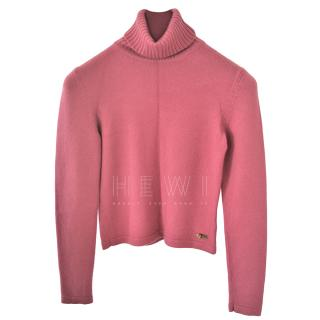 Dior Pink Cashmere Roll Neck Jumper