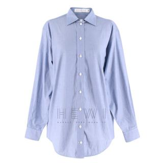 Victoria Beckham Oversized Blue Cotton Shirt
