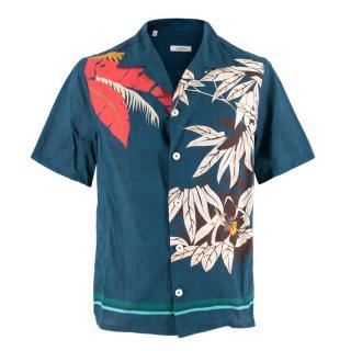 Valentino Short-Sleeved Navy Hawaiian Shirt